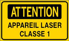 Attention Appareil laser classe 1 - STF 3314S