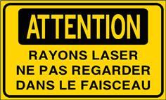 Attention rayons laser ne pas regarder dans le faisceau - STF 3316S
