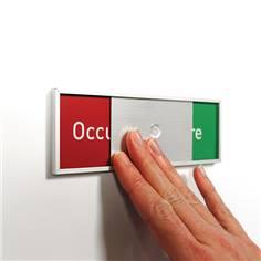 Plaque Occupé/libre en 5 langues - H 50 x L 150 mm - Fixation adhésive fournie