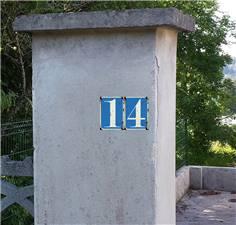 Numéro de Maison Bleu -  - H 90 x L 65 mm  - Vintage