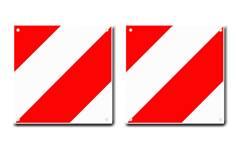 Plaque hachurée rouge et blanc type V20 - 480 x 480 mm