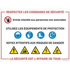 Panneau Consignes de sécurité sur les chantiers
