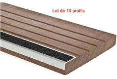 Lot de 10 Profils nez de marche pour extérieur avec résine marbre NOIR - larg. 52 mm Dimension Longueur de 1 m Couleur Noir