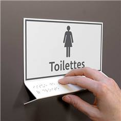 Support tactile en braille - Toilettes Femmes