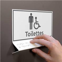 Support tactile en braille - Toilettes Hommes Handicapés