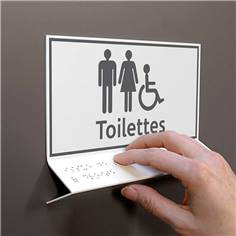 Support tactile en braille - Toilettes Mixtes PMR