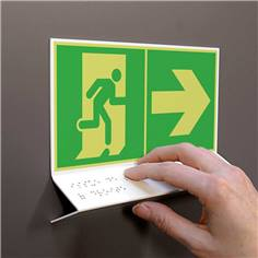Support tactile en braille - Evacuation à Droite