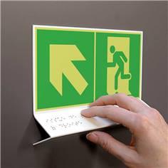 Support tactile en braille - Evacuation en haut à gauche