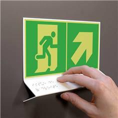 Support tactile en braille - Evacuation en haut à droite