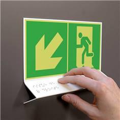 Support tactile en braille - Evacuation en bas à gauche