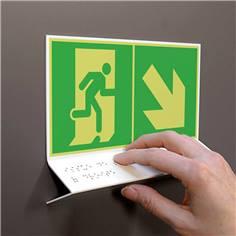 Support tactile en braille - Evacuation en bas à droite