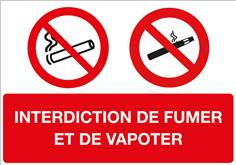 Panneau interdiction de fumer et d'utiliser la cigarette électronique