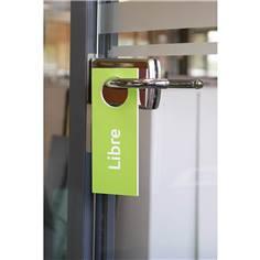 Accroche poignée de porte Occupé / libre - Vert et prune