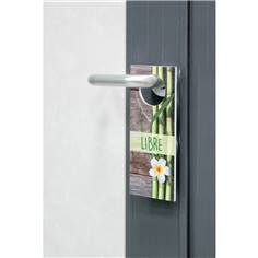 Accroche poignée de porte Occupé / libre en PVC décor bambou