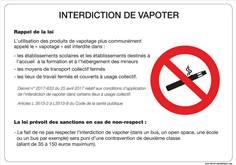 Panneau informationnel à propos de l'interdiction de vapoter