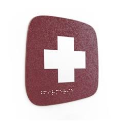 Plaque de porte Touchy® Square - Infirmerie - 120 x 120 mm - Relief et braille