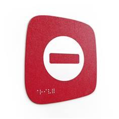 Plaque de porte Touchy® Square - Interdiction - 120 x 120 mm - Relief et braille