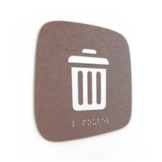 Plaque de porte Touchy® Square - Local poubelles - 120 x 120 mm - Relief et braille