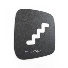 Plaque de porte Touchy® Square - Escaliers - 120 x 120 mm - Relief et braille