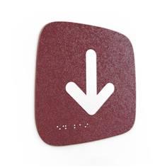 Plaque de porte Touchy® Square - Flèche bas - 120 x 120 mm - Relief et braille