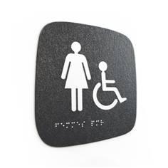 Plaque de porte Touchy® Square - WC Femmes PMR - 120 x 120 mm - Relief et braille