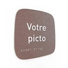 Plaque de porte Touchy® Square - Pictogramme personnalisé - 120 x 120 mm - Relief et braille