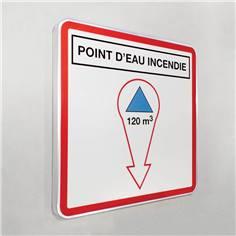 Panneau Point d´eau incendie avec volume personnalisé dans une flèche - Type routier - 500 x 500 mm