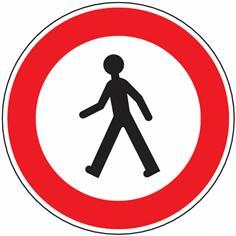 Panneau Accès interdit aux piétons avec picto - R9