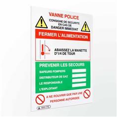 Consigne de sécurité coupure de vanne gaz - H 200 x L 150 mm