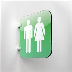 Plaque en drapeau Toilettes Hommes Femmes - Gamme Drap´Icone® - 200 x 200 mm