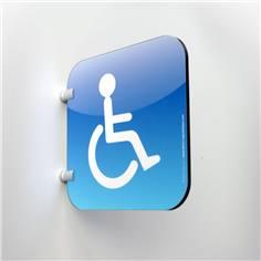 Plaque en drapeau Toilettes Handicapés - Gamme Drap´Icone® - 200 x 200 mm