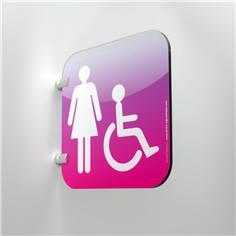 Plaque en drapeau Toilettes Femmes PMR - Gamme Drap´Icone® - 200 x 200 mm