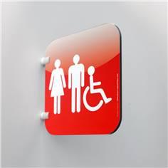 Plaque en drapeau Toilettes Hommes Femmes PMR - Gamme Drap´Icone® - 200 x 200 mm