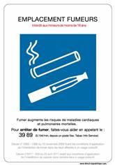 Panneau emplacement fumeurs et vapoteurs