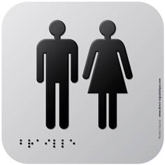 Pictogramme Alu avec relief Toilettes  - 120 x 120 mm - Gamme Icone Alu