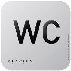 Pictogramme Alu avec relief WC - 120 x 120 mm - Gamme Icone Alu