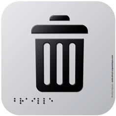 Pictogramme Alu avec relief Poubelles - 120 x 120 mm - Gamme Icone Alu