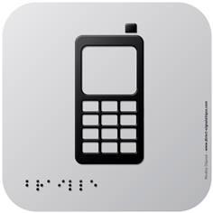 Pictogramme Alu avec relief Téléphones portables autorisés - 120 x 120 mm - Gamme Icone Alu