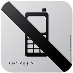 Pictogramme Alu avec relief Téléphones portables interdits - 120 x 120 mm - Gamme Icone Alu