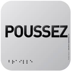 Pictogramme Alu avec relief Poussez - 120 x 120 mm - Gamme Icone Alu