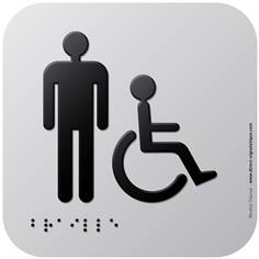 Pictogramme Alu avec relief Toilettes Hommes PMR - 120 x 120 mm - Gamme Icone Alu