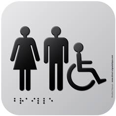 Pictogramme Alu avec relief Toilettes PMR H/F - 120 x 120 mm - Gamme Icone Alu