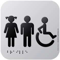 Pictogramme Alu avec relief Toilettes Garçons Filles PMR - 120 x 120 mm - Gamme Icone Alu