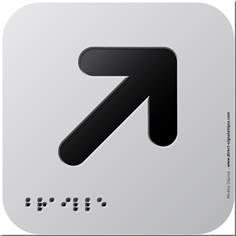 Pictogramme Alu avec relief Flèche en haut à droite - 120 x 120 mm - Gamme Icone Alu