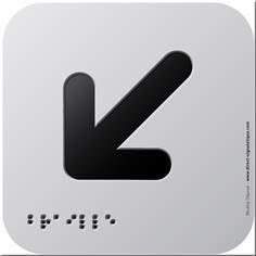 Pictogramme Alu avec relief Flèche en bas à gauche - 120 x 120 mm - Gamme Icone Alu
