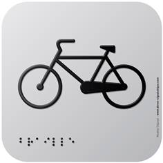 Pictogramme Alu avec relief Garage à vélos - 120 x 120 mm - Gamme Icone Alu
