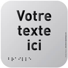 Pictogramme Alu avec relief Texte personnalisé - 120 x 120 mm - Gamme Icone Alu