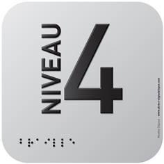 Pictogramme Alu avec relief Niveau 4 - 120 x 120 mm - Gamme Icone Alu