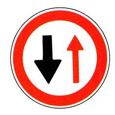 Panneau ´Cédez le passage à la circulation venant en sens inverse´ - R16