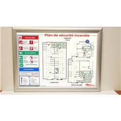 Plan de sécurité incendie (anciennement Évacuation) plastifié avec cadre aluminium